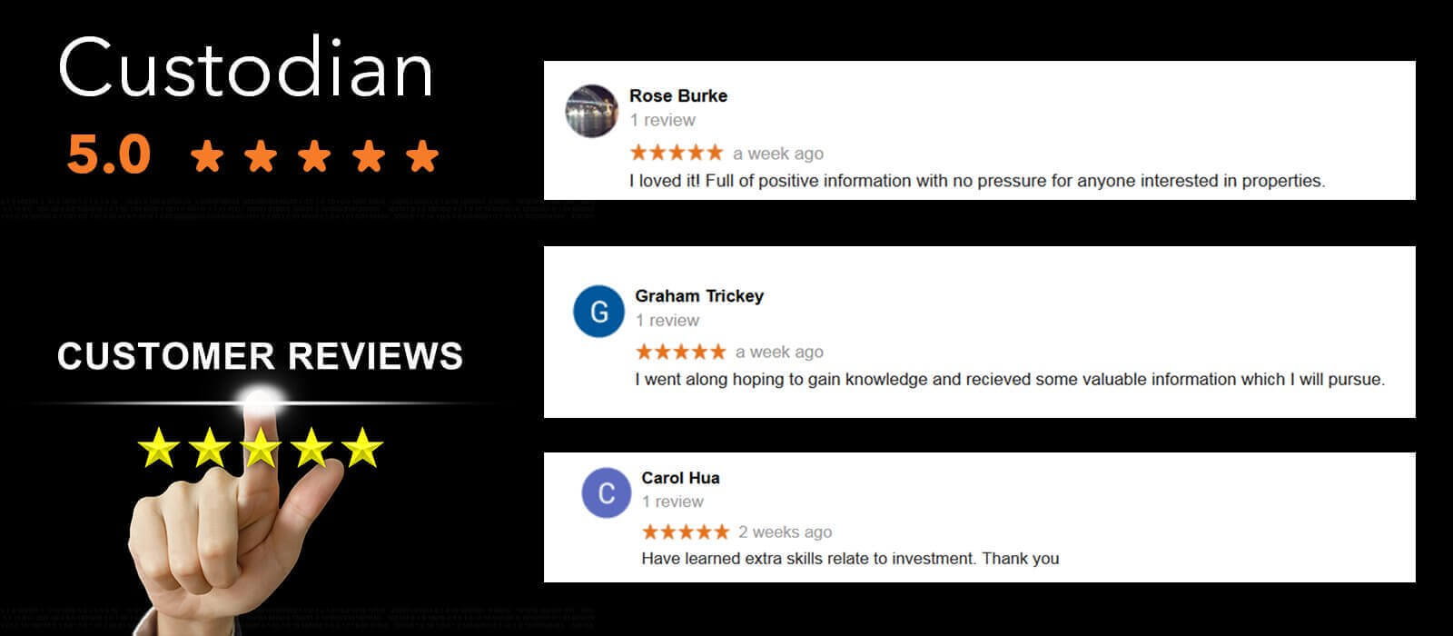Google reviews from custodian clients