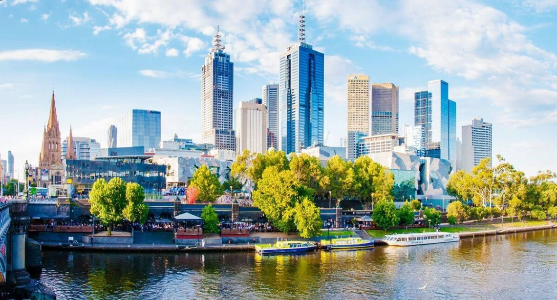 a view over Yarra river and city